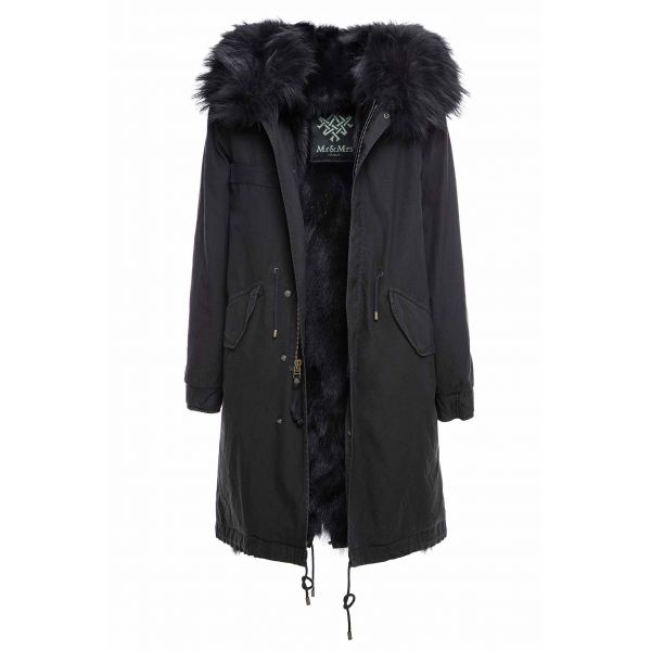 BLACK PARKA WITH  PATCH FOX AND RACCOON FUR