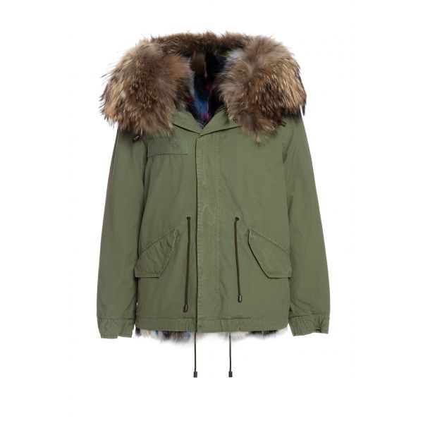ARMY COTTON CANVAS MINI PARKA WITH PATCH FOX FUR LINING