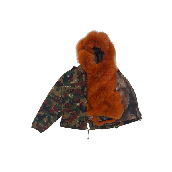 CROPPED FIELD JACKET RED CAMOUFLAGE WITH MULTICOLOR FOX FUR WAISTCOAT