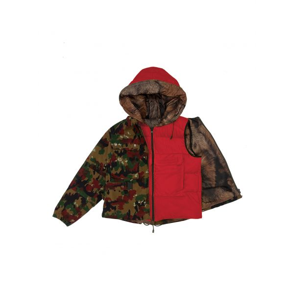 CROPPED FIELD JACKET RED CAMOUFLAGE WITH PADDED WAISTCOAT
